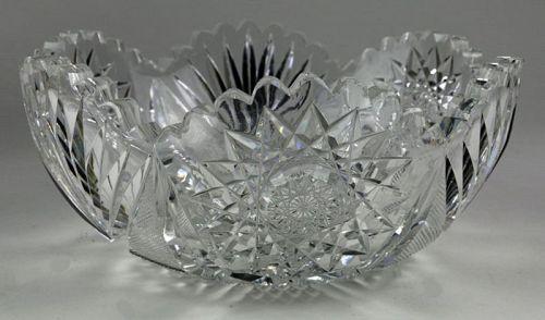 Fan and Star Cut Glass Bowl