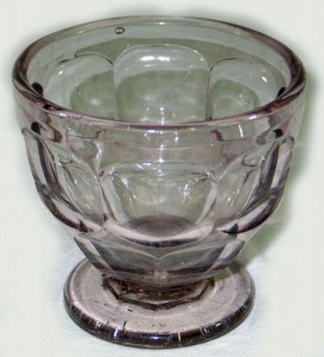 EAPG Ashburton Flint Glass  Sugar Base, Sun-Purpled, 1840s-1860s