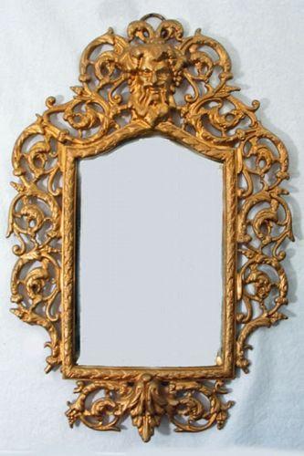 Gilt Brass Mirror with Ornate Frame