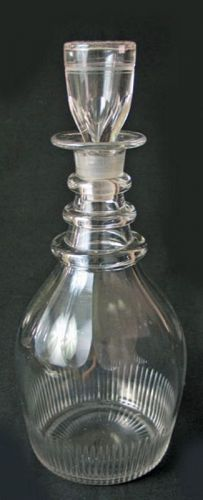 Hand Blown Cut Glass Decanter with Stopper