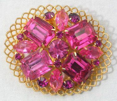 Pink Rhinestone Brooch
