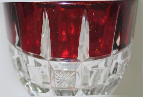 EAPG Block and Star Spearpoint Ruby Stained Glass Goblet