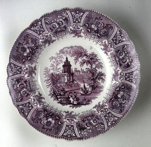Purple Transferware Staffordshire Plate Grecian Temple