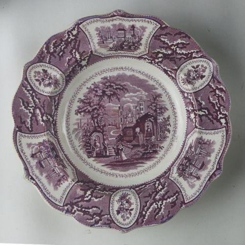 Purple Transferware Staffordshire Plate Valencia