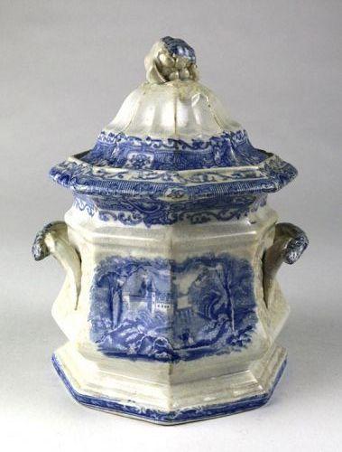 Staffordshire Flow Blue Sugar Box