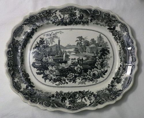 American Historical Staffordshire Platter, Clews Virginia, c. 1820