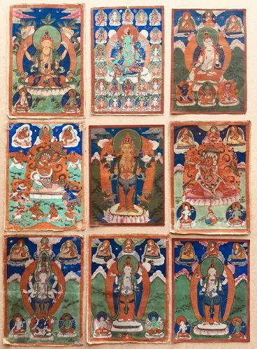 MONGOLIAN BUDDHIST PAINTINGS. SET OF 9