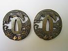 Two bronze tsuba with eagles