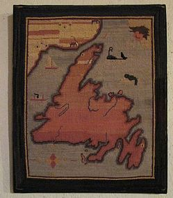 Grenfell Mission hooked map mat c. 1920