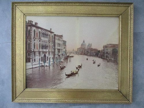 Very large hand colored albumen photograph Venice c. 1890