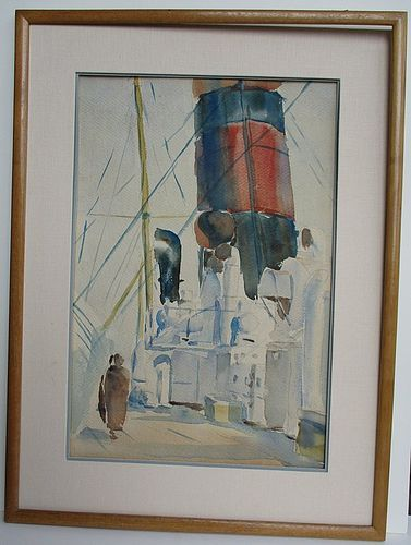 Mason Wells, watercolor of ocean liner deck early 20th century