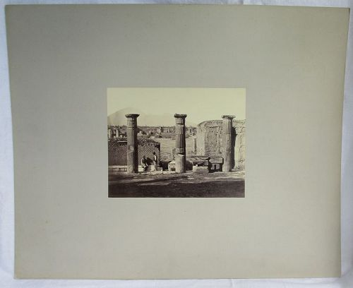 Albumen photograph of 3 large columns at Pompeii Italy. 1870�s
