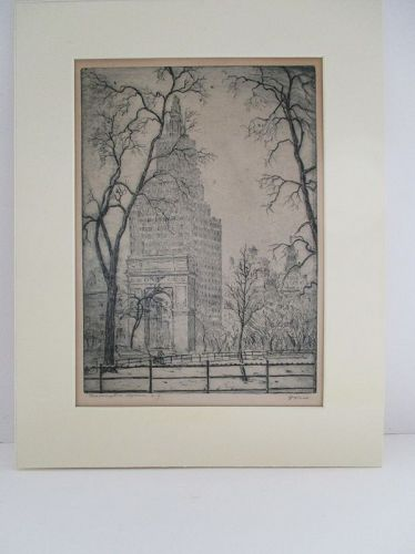 Leon Dolice etching Washington Square Park New York