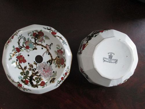 2 piece printed and hand colored Mason�s ironstone strainer dish c. 18