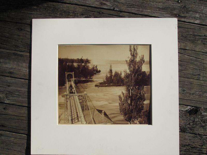 Very large albumen photograph of a bridge near Niagara Falls c.1890