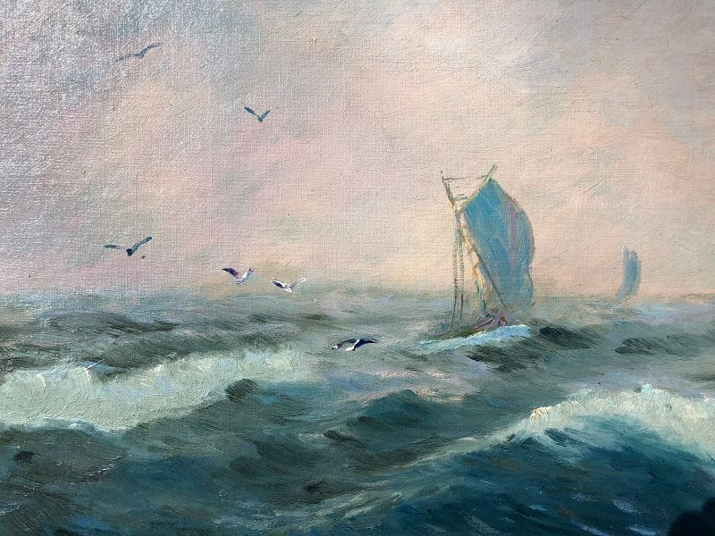 John Hawkins, 20th century, oil on board of sailing fishing boats in a