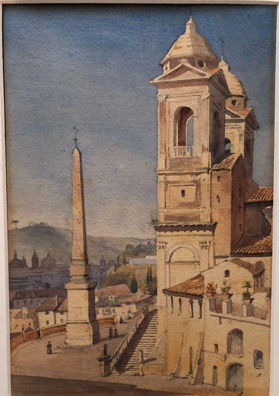 Watercolor of Trinita dei Monti Rome by Augustus Hare, 1866