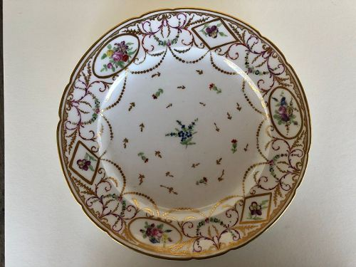 French pre-Revolution floral dinner plate from Bordeaux