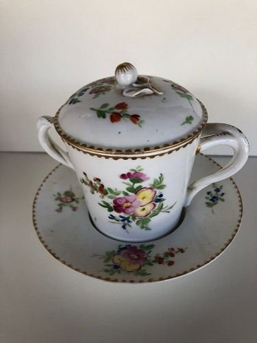 French floral decorated porcelain trembleuse cup with lid circa 1780