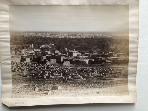 Albumen photo view of Damascus, Bonfils c. 1870