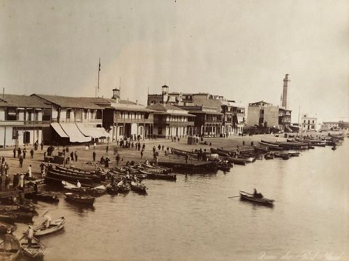 Albumen photo quay at Port Said, Zangaki c.1870