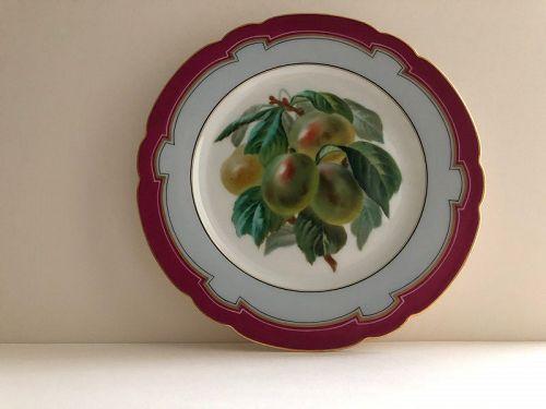 Porcelain plum decorated dessert plate, Lahoche & Pannier c. 1860