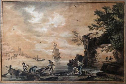 Ink and watercolor harbor scene Thomas Ryves 1770