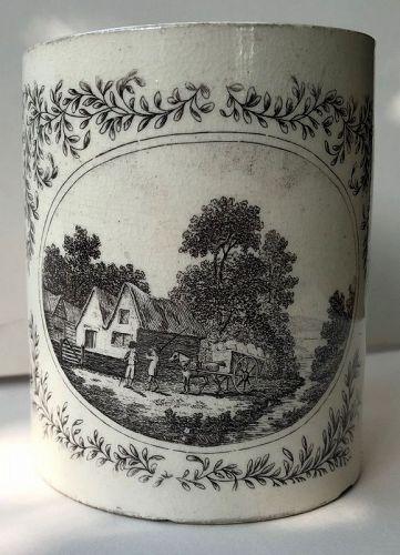 Creamware mug with black transfer cottage scene English c. 1800
