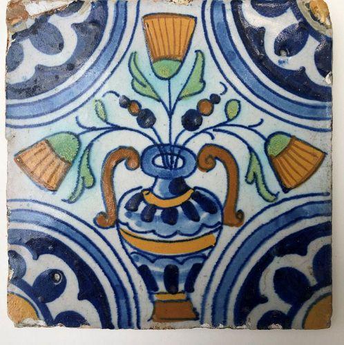 Dutch delft polychrome tile vase and flowers 1st half 17th century