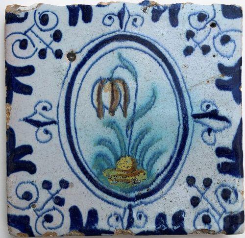 Dutch delft polychrome floral tile 1st half 17th century