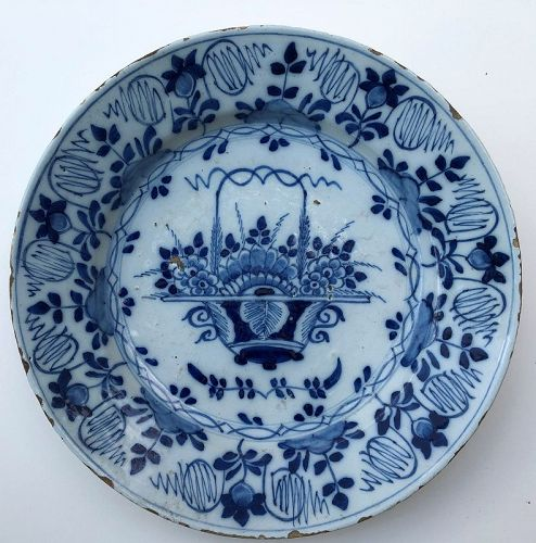 Delft blue and white charger, Dutch 18th c.