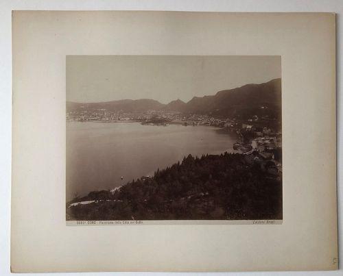 Albumen photo Lake Como and town, Brogi c. 1880