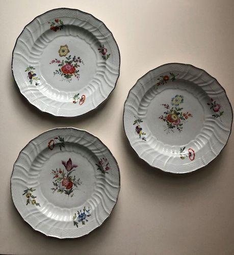 3 Coalport porcelain plates with flowers c. 1820