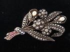 Edwardian Diamond Pin with Rubies & Pearls