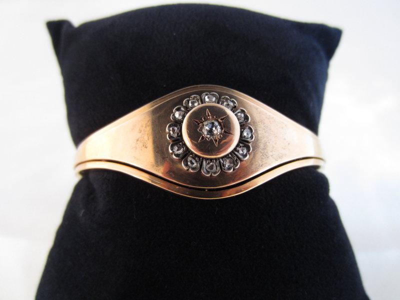 18k Rose Gold and Diamond Bangle Bracelet
