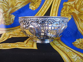 German .800 Silver Pierced and Repousse Bowl