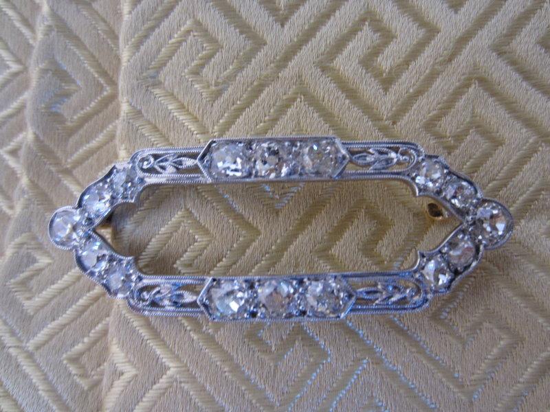 Platinum and 18k Gold Old Mine Cut Diamond Brooch