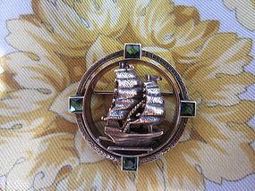 14k & Peridot Sailing Ship Brooch