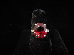 Rubellite Tourmaline, Diamond and Platinum Ring