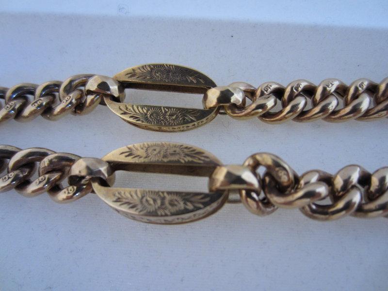 Victorian 9k Yellow Gold Watch Chain