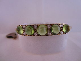 Art Nouveau Diamond and Peridot Bangle Bracelet