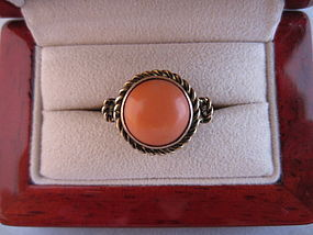 Salmon Coral and 14k Rose Gold Ring
