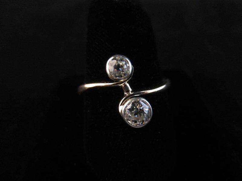 Old Mine Cut Diamond Bypass Ring