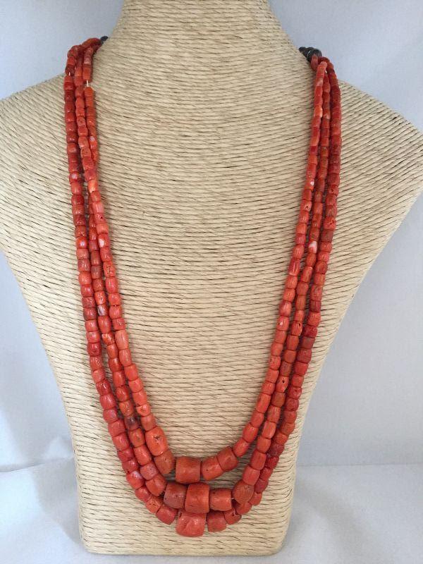 Native American Coral Triple Strand Necklace