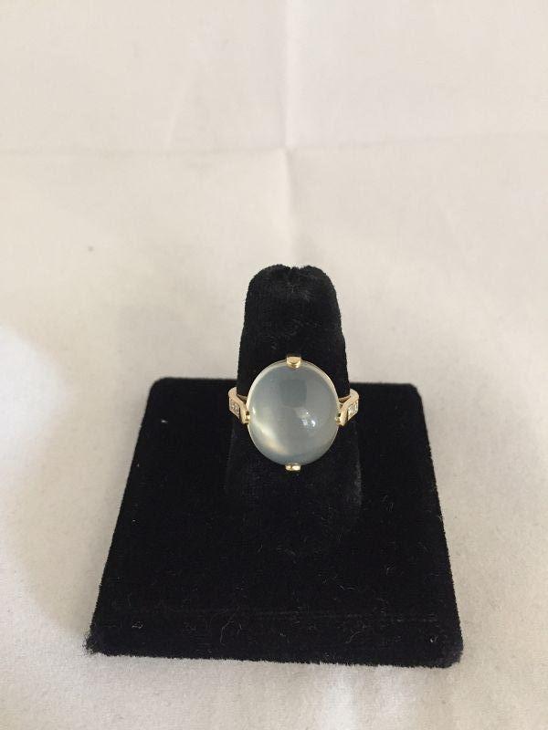 Moonstone, Diamond, and 14k Yellow Gold Ring