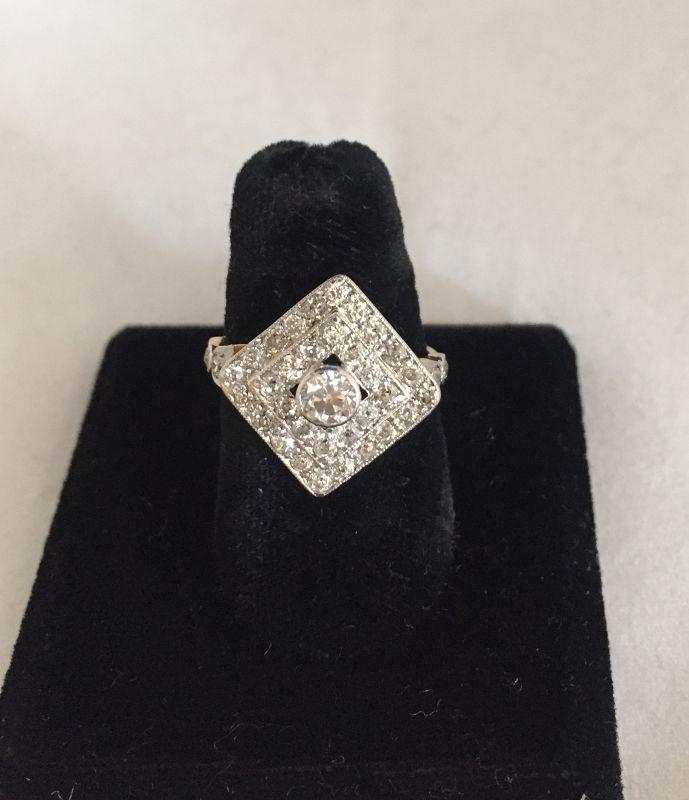 Platinum & Gold 1.2 Carat Total Weight Diamond Cluster Ring