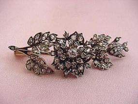 Victorian Diamond Floral Spray Brooch