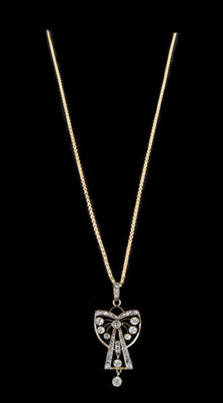 French 18K Diamond Pendant And 18K Chain