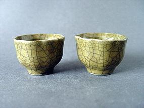 A rare pair of Guan type Ming Chenghua Minyao cups
