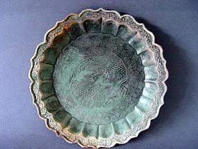 "A superb late Yuan Sancai glazed "" double Poenix dish """